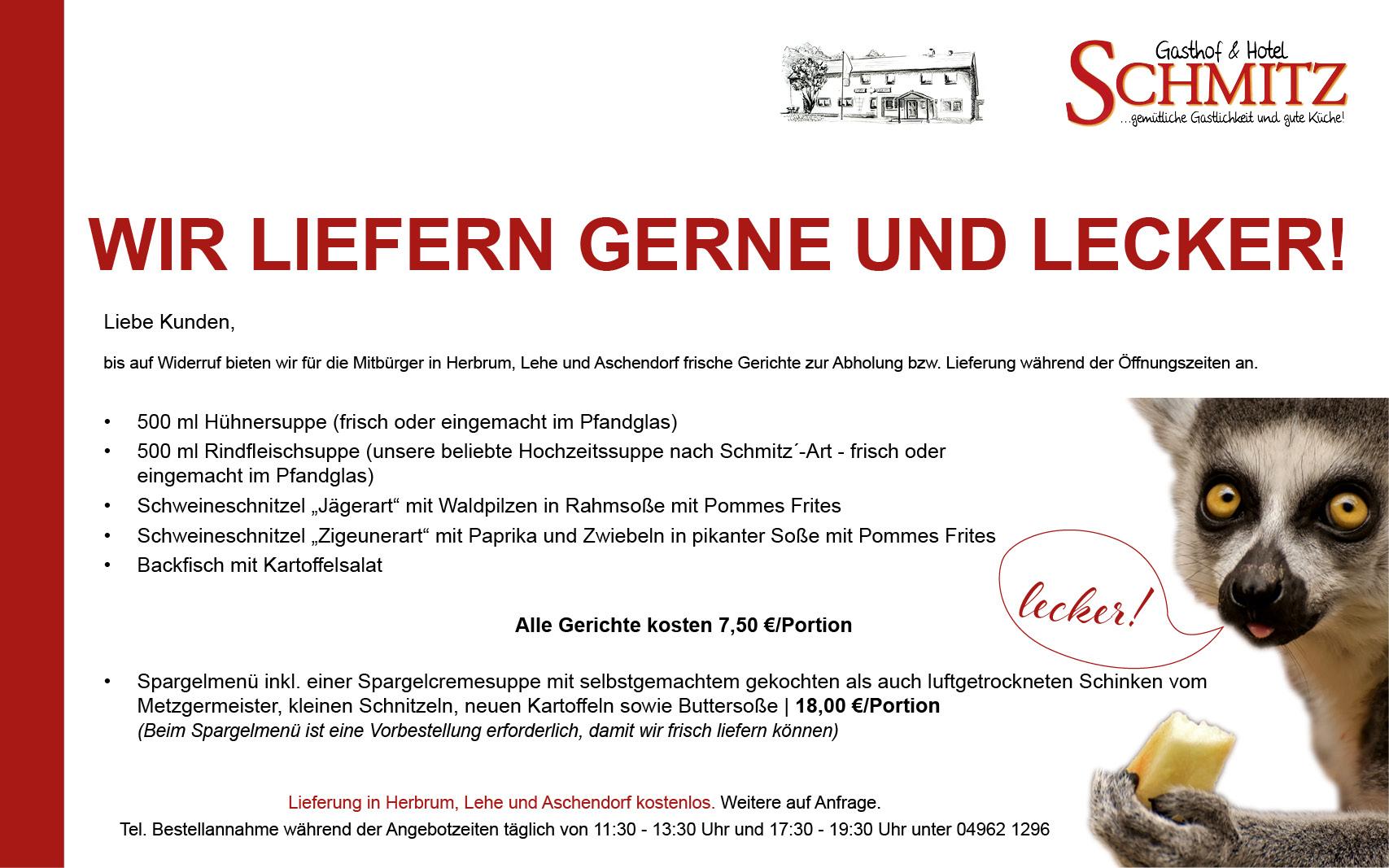 Angebot des Gasthofes Schmitz, Herbrum - Wir liefern gerne und lecker!